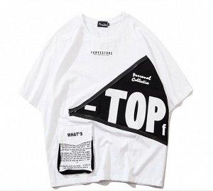 """Футболка унисекс, надпись """"Top"""", декоративная молния, цвет белый"""