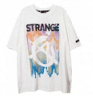 """Футболка унисекс, принт """"Анархия"""", надпись """"Strange"""", цвет белый"""