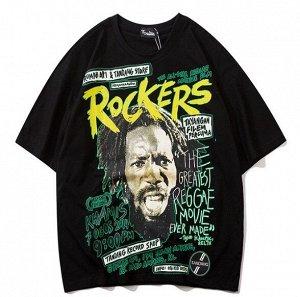 """Футболка унисекс, принт """"Rockers"""", надписи, цвет черный"""