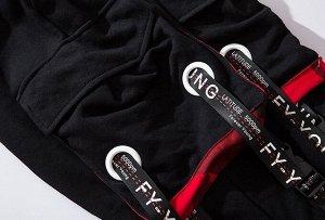 """Брюки-джоггеры унисекс, черный цвет, карманы с красным подкладом и принтом """"камуфляж"""", декоративные ремни"""