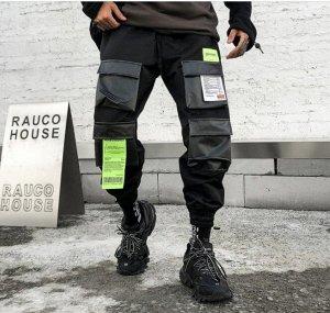 Брюки-джоггеры унисекс, черный цвет, 4 кармана спереди