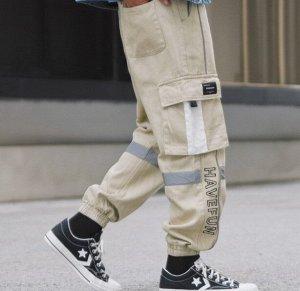 """Брюки-джоггеры унисекс, бежевый цвет, с нашивными карманами по бокам, надпись """"Havefun"""""""