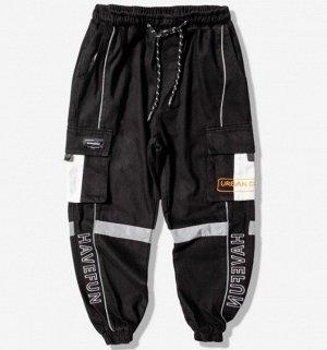 """Брюки-джоггеры унисекс, черный цвет, с нашивными карманами по бокам, надпись """"Havefun"""""""