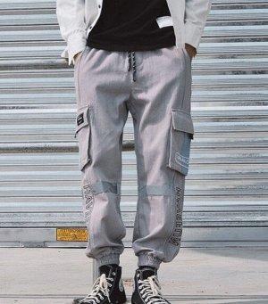 """Брюки-джоггеры унисекс, серый цвет, с нашивными карманами по бокам, надпись """"Havefun"""""""