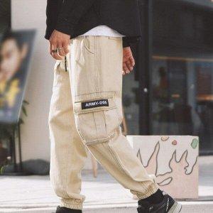 Брюки-джоггеры унисекс, бежевый цвет, с нашивными карманами по бокам