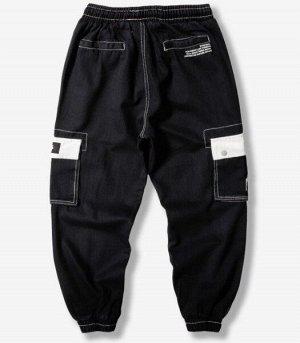 Брюки-джоггеры унисекс, черный цвет, с нашивными карманами по бокам