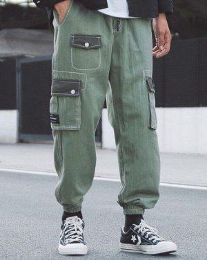 Брюки-джоггеры унисекс, зеленый цвет, с нашивными карманами по бокам