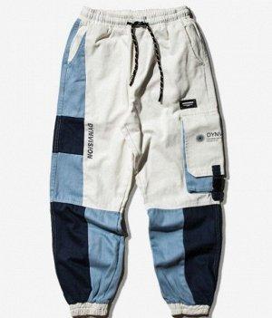 Брюки-джоггеры унисекс, нашивной карман сбоку, цвет белый/голубой/синий