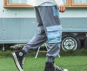 Брюки-джоггеры унисекс, нашивные карманы голубого цвета по бокам, цвет серый/голубой