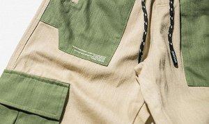 Брюки-джоггеры унисекс, нашивные карманы зеленого цвета по бокам, цвет бежевый/зеленый