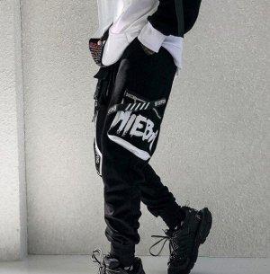 Брюки-джоггеры унисекс, нашивные карманы, декоративные ремешки с надписями, цвет черный/белый