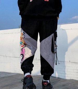 """Брюки-джоггеры утепленные унисекс, нашивной карман сбоку, принт """"Аниме"""", цвет черный"""