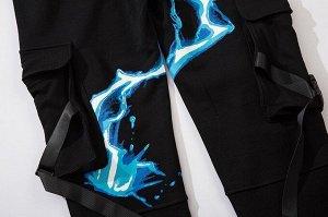 """Брюки-джоггеры унисекс, принт """"Голубая молния"""", цвет черный"""
