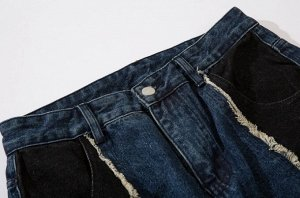 """Широкие джинсы унисекс, принт """"Заплатки"""", надписи, цвет синий/черный"""