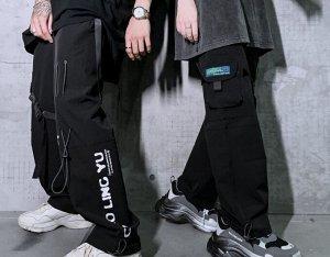 Широкие брюки унисекс, нашивной карман, декоративные ремни, цвет черный