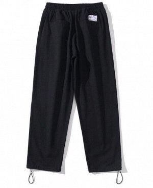 """Широкие брюки унисекс, утяжка по низу, принт """"Анархия"""", надписи, цвет черный"""