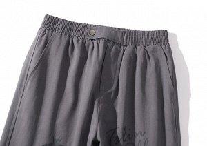 """Широкие брюки унисекс, утяжка по низу, принт """"Анархия"""", надписи, цвет серый"""