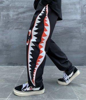 Широкие брюки унисекс, утяжка по низу, с принтом, цвет черный