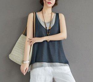 Топ,серый Ткань: хлопок и лен грудь 104-120 см,  длина 64 см