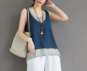 Топ,синий Ткань: хлопок и лен грудь 104-120 см,  длина 64 см