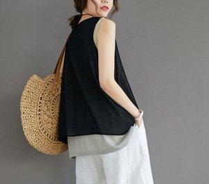 Топ,черный Ткань: хлопок и лен грудь 104-120 см,  длина 64 см