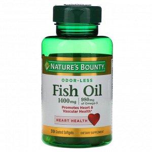 Nature's Bounty, Рыбий жир, тройная сила, 1400 мг, 39 мягких желатиновых капсул в оболочке