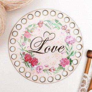 """Заготовка для вязания """"Круг. Love"""" 12 см фанера"""
