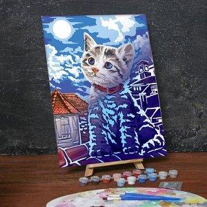 Лунная роспись по номерам без подрамника «Котёнок, 30 х 40 см