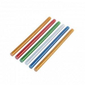 Клеевые стержни TUNDRA, 11 х 200 мм, разноцветные с блестками, 6 шт.