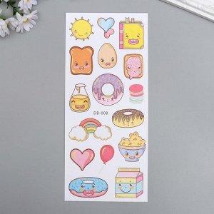 """Наклейка пластик с золотым контуром """"Пончики"""" 28,5х10,5 см"""