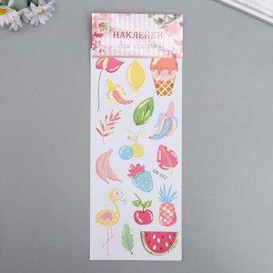 """Наклейка пластик с золотым контуром """"Фрукты, ягоды"""" 28,5х10,5 см"""