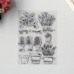 """Штамп для творчества силикон """"Весенние цветы"""" 15х10 см"""