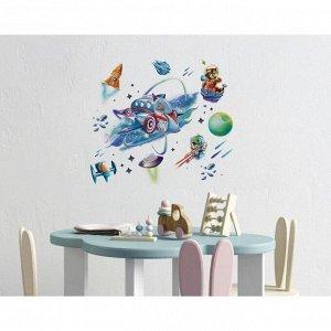 Наклейка виниловая  «Космическое приключение». интерьерная. со светящимся слоем. 30 х 35 см   522736