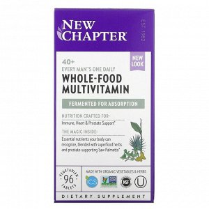 New Chapter, Every Man Ежедневная мультивитаминная добавка для мужчин 40+, 96 вегетарианских таблеток