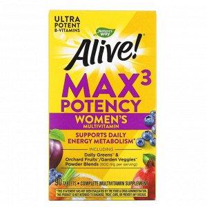 Nature's Way, Alive! Max3 Potency, мультивитамины для женщин, 90 таблеток