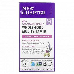 New Chapter, 40+ Every Woman's One Daily Multi, мультивитамины для женщин после 40, 72 растительные таблетки