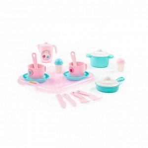 Набор детской посуды Хозяюшка с подносом на 2 персоны (V4) (19 элементов) (в сеточке)16