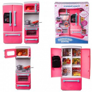 Кухонный гарнитур ABtoys Помогаю Маме в наборе с аксессуарами, 2 секции, на батарейках881