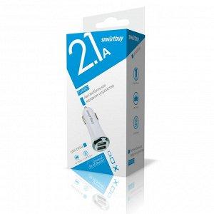 Автомобильное ЗУ SmartBuy® TURBO 1x2.1A,1x1 А, белое,  2 USB (SBP-2021)