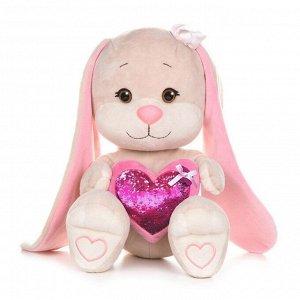 Мягкая игрушка Maxitoys Jack&Lin Зайка с Розовым Cердцем, 35 см3