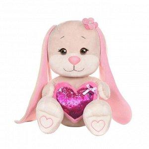 Мягкая игрушка Maxitoys Jack&Lin Зайка с Розовым Сердцем, 25 см16