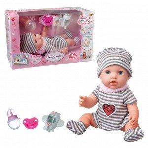 Пупс ABtoys Baby Ardana 30см, в полосатом платье, шапочке и носочках, в наборе с аксессуарами, в коробке178