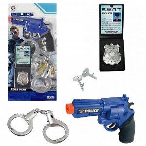 Игровой набор Junfa Полиция (пистолет, наручники с ключами, жетон), на блистере86