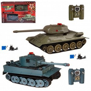 """Танковый бой на радиоуправлении, в наборе: 2 танка Т-34 и """"Тигр""""901"""