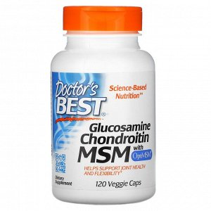 Doctor's Best, глюкозамин, хондроитин и МСМ с OptiMSM, 120 вегетарианских капсул