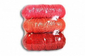 Набор шнуров полиэфирных 3мм (красный+коралловый+светло розовый)