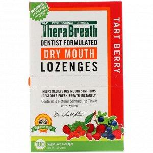 TheraBreath, Леденцы против сухости во рту, без сахара, кислые ягоды, 100 леденцов