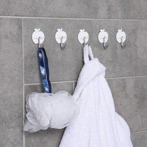 Набор крючков на липучке «Фрукты» 5 шт, форма МИКС, цвет белый