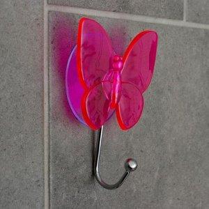 Крючок на вакуумной присоске «Бабочка», цвет МИКС 647901