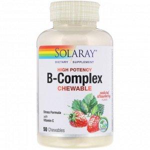 Solaray, Жевательные таблетки B-комплекса высокой эффективности, натуральный клубничный вкус, 50 жевательных таблеток